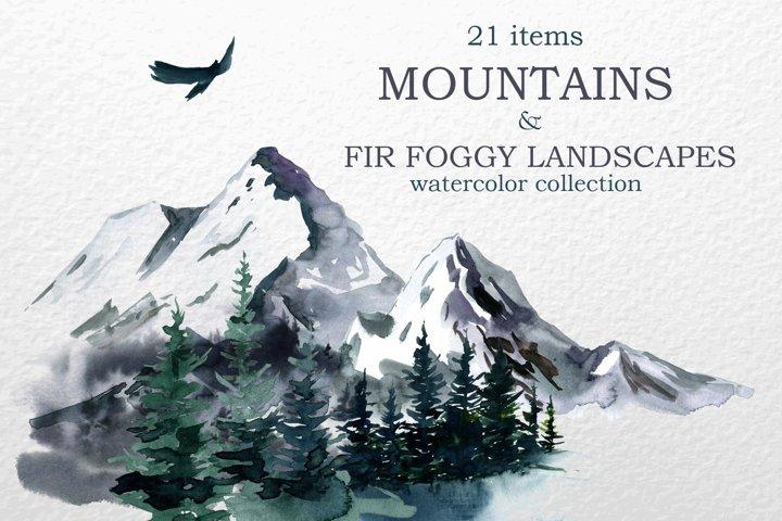 Mountains, Landscapes Watercolor clipart