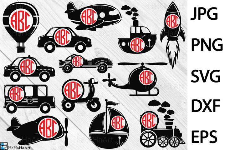 All Transportation Monogram - Clip art / Cutting Files 405c