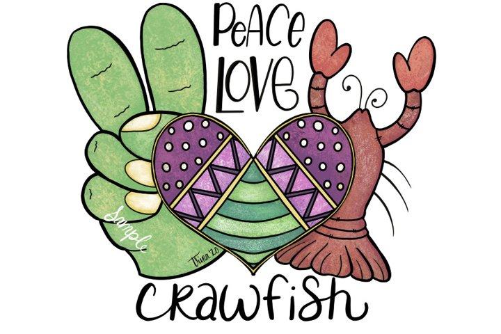 XL 12-inch- Mardi Gras Peace Love Crawfish Clip Art