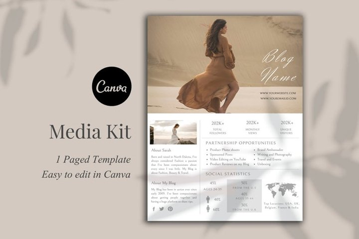 Media Kit Template, 1 Page, Canva