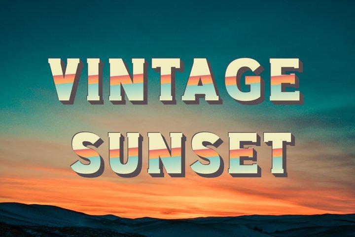 Vintage Sunset SVG Font
