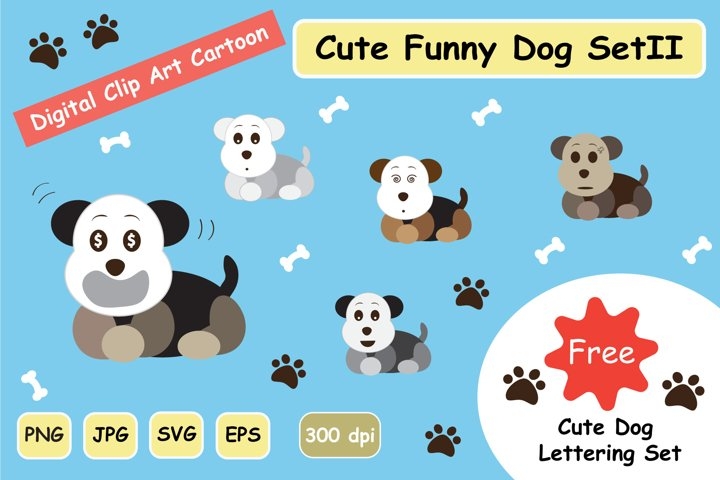 Cute Funny Dog SVG Clipart Digital Graphic Set 2