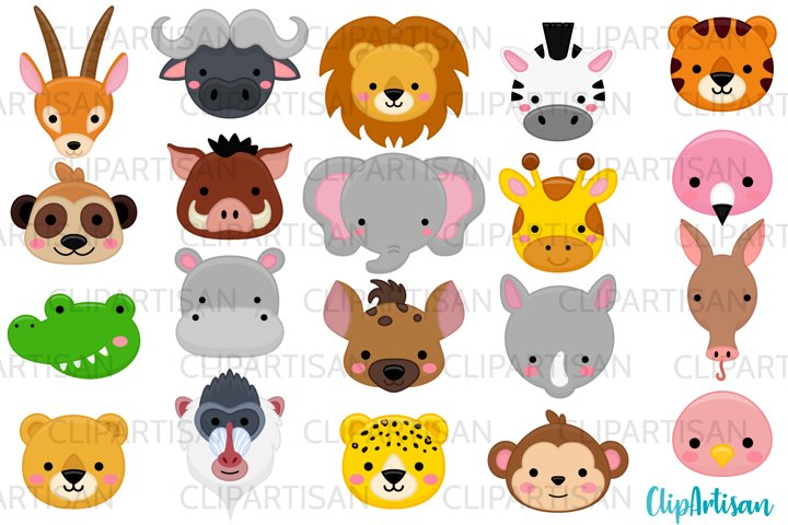 African Animal Faces Clipart, Safari Animals, Zoo Animals
