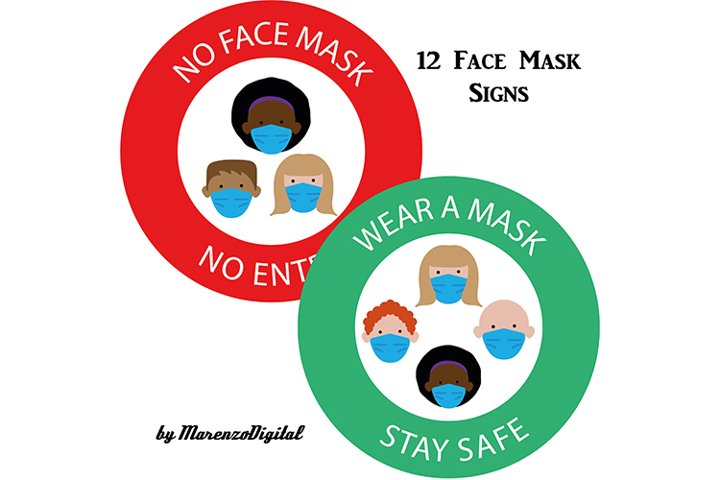 Face Mask Signs PNG Graphics