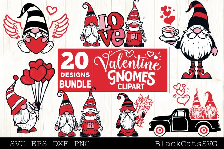 Valentine Gnomes SVG bundle Gnome clipart SVG 20 designs