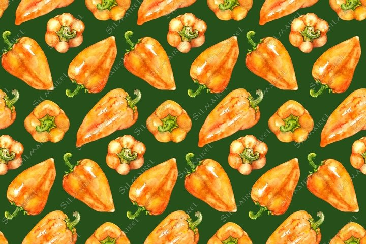 Watercolor sweet Bulgarian pepper vegetable seamless pattern