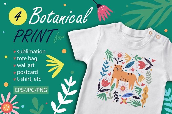 Botanical graphic for print and sublimation. Botanical Shirt