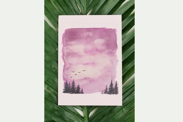 Watercolor Clipart,Landscape with Sky example 1