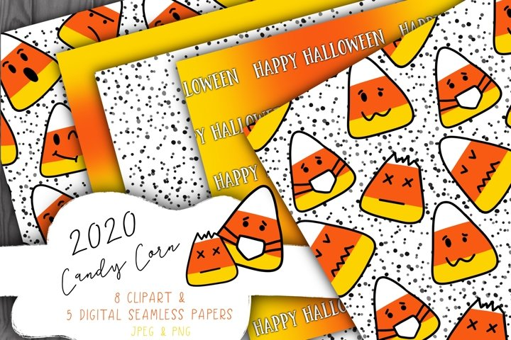 Halloween Candy Corn Digital Paper and Clip Art - 5 papers