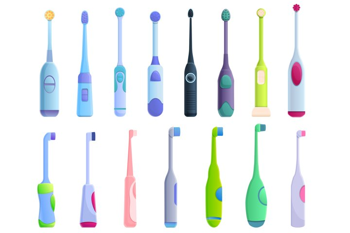 Electric toothbrush icons set, cartoon style