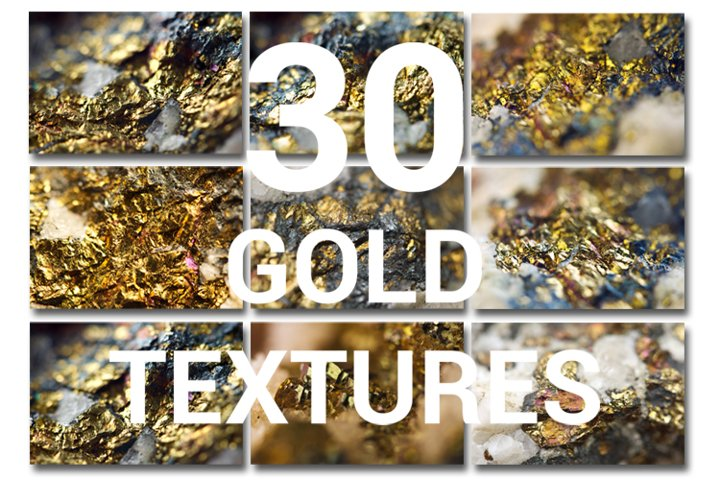 Gold. 30 golden textures. Nugget closeup.