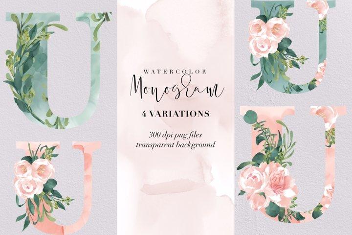 Letter U watercolor monogram, floral monogram PNG, flowers