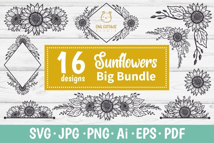 SUNFLOWERS BIG BUNDLE SVG, Floral borders and monograms