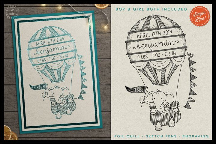 Foil Quill HOT AIR BALLOON Birth Stats Baby Announcement SVG