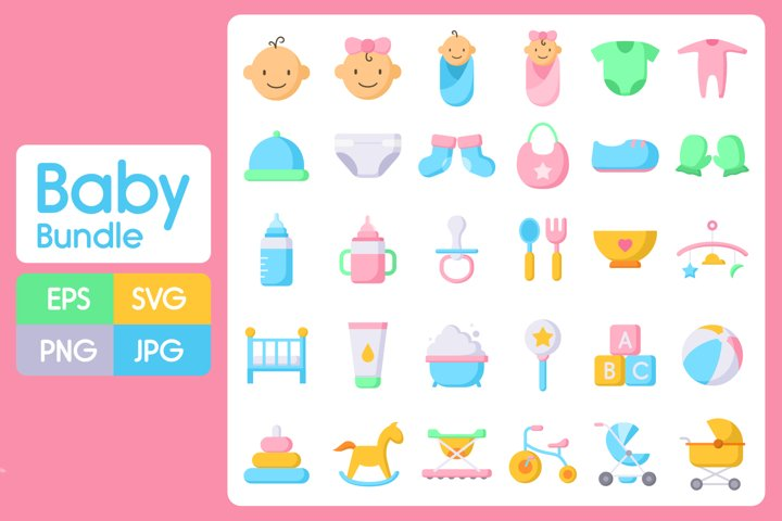 Baby bundle SVG - 30 vector design - EPS, SVG, PNG, JPG