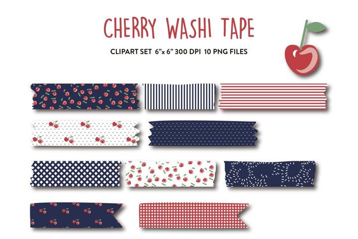 Cherry washi tape digital, cherry pattern, clipart, red