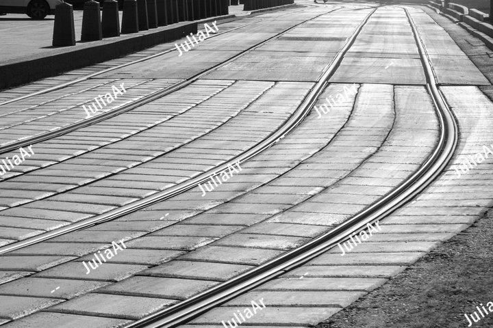 Tram ways. Black and white photo.