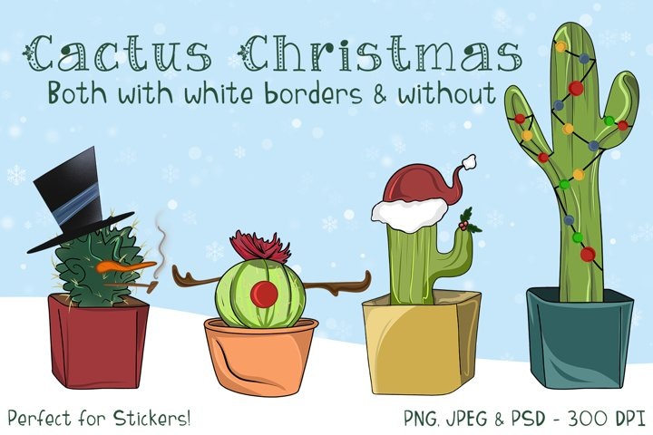 Cactus Christmas Illustrations - Stickers or Sublimation