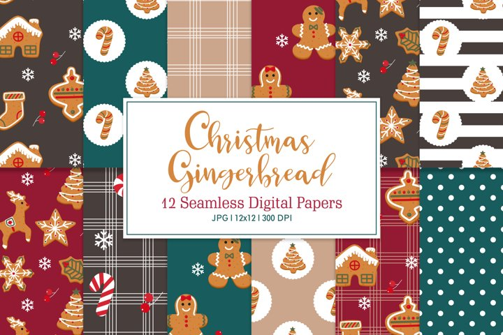 Digital Paper Christmas Gingerbread, Seamless Pattern