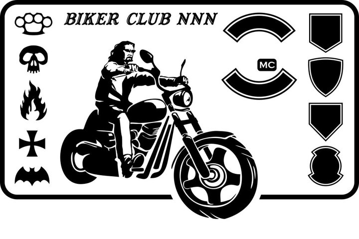 Set of images for a motorcycle theme