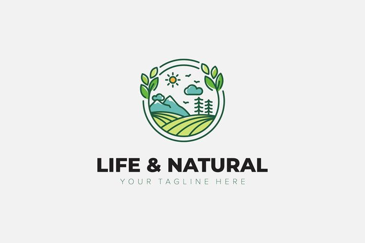 Natural and Life Landscape green logo designs minimalist