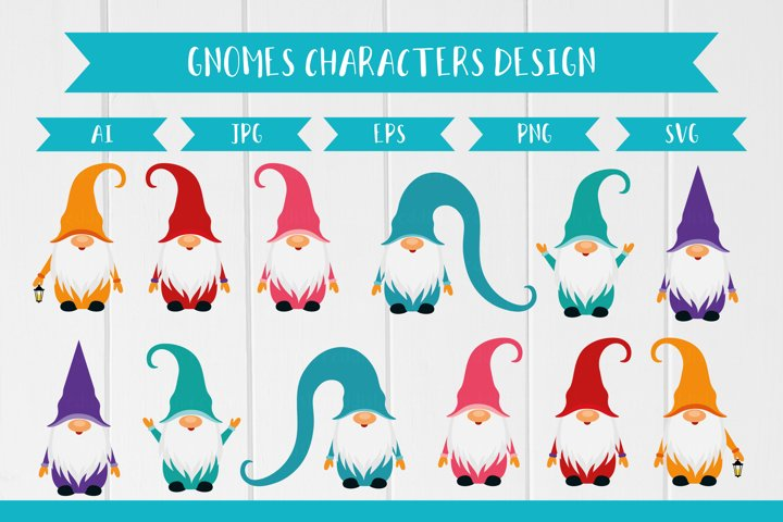 6 Gnomes bundle vector sublimation EPS JPG AI PNG