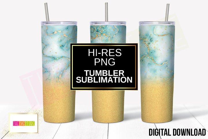 Tumbler Sublimation Design   Blue Marble and Gold   20oz