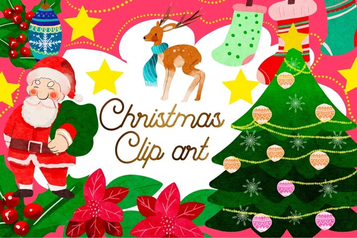 Christmas Watercolor element Clipart