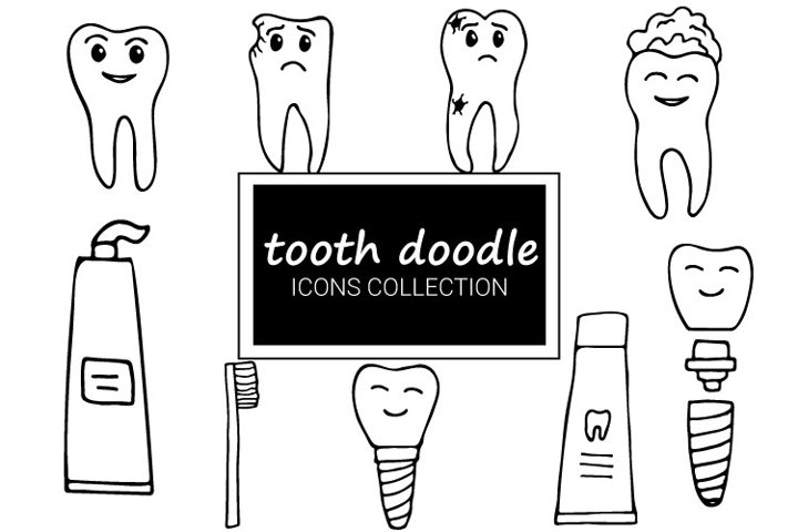 Teeth doodle icons collection