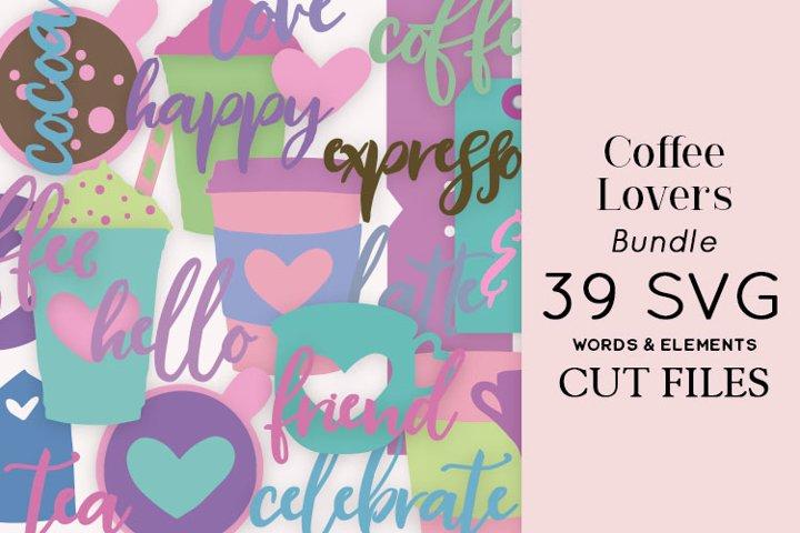 Coffee Lovers Bundle 39 SVG Words & Elements Cut Files