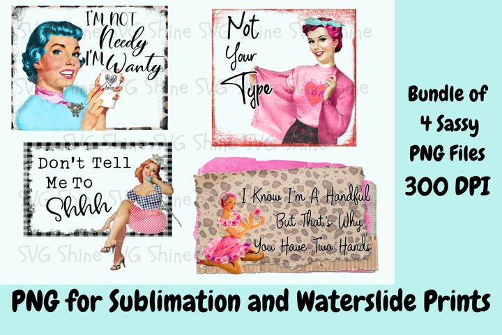 Sublimation Sassy Retro PNG Files, Printable Funny Designs
