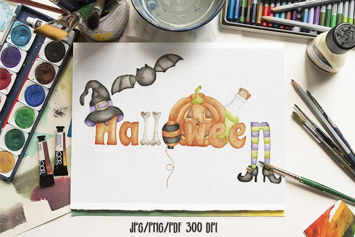 Halloween watercolor wordart sublimation design