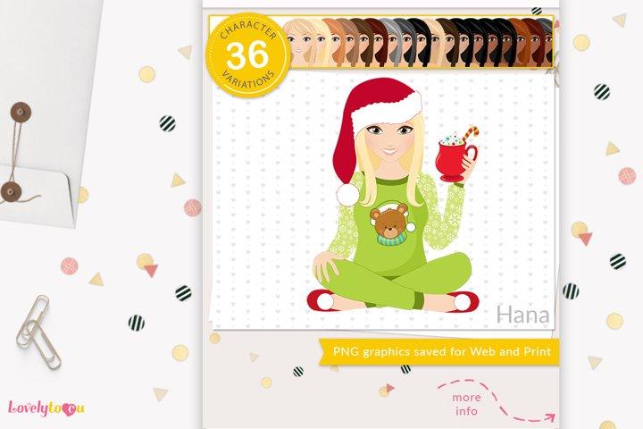 Christmas woman character clipart LVH12 Hana