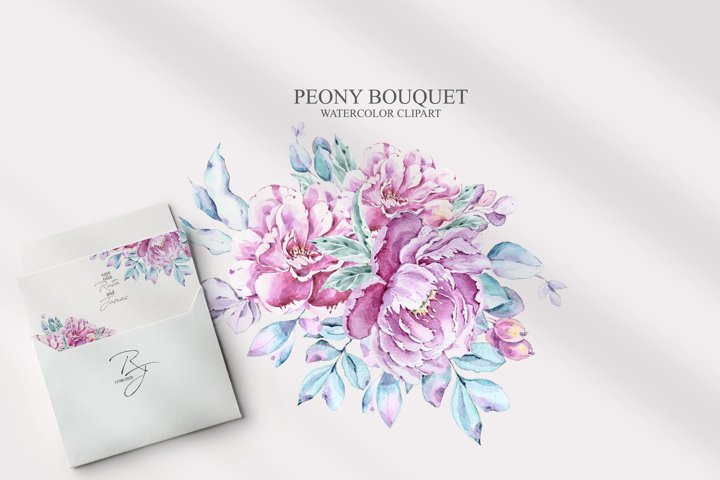 Watercolor peony bouquet clipart. Floral wreath. Pink peony