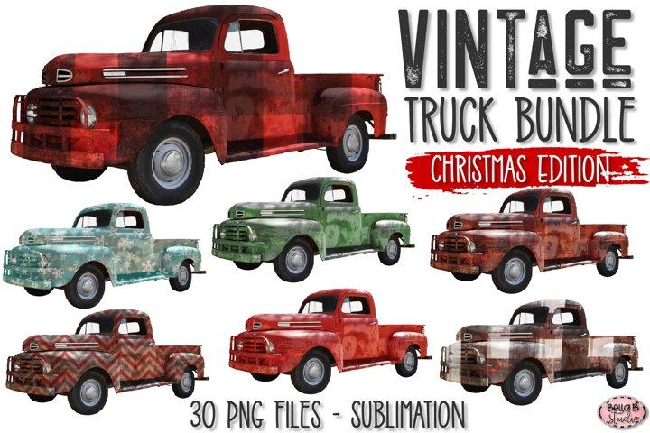 Vintage Christmas Truck Elements Bundle