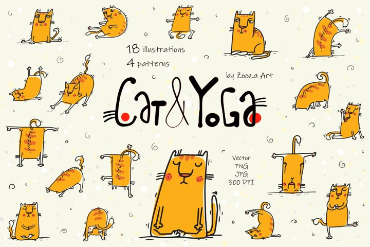 Cat and Yoga - vector patterns and illustrations