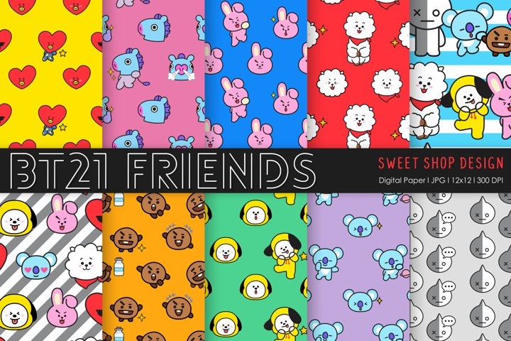 Digital Paper Friends BTS, 12x12, Set of 10 Papers