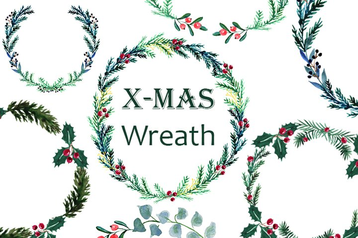 Christmas Wreath set, Watercolor Holiday Clipart.