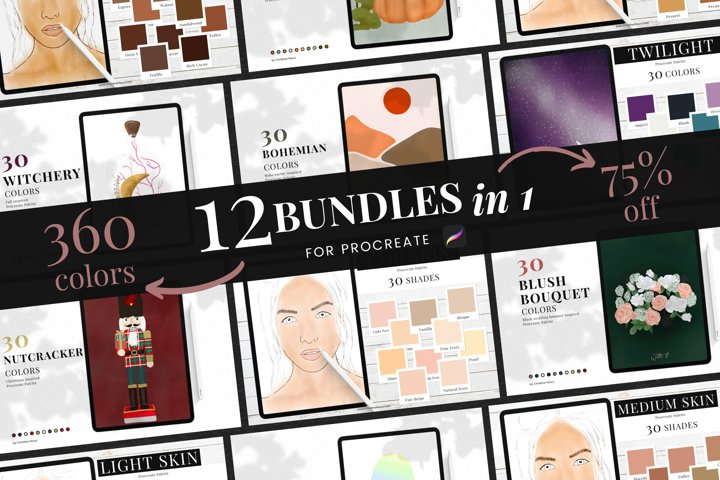 12 in 1 Procreate Color Palette Bundle by Christine Fleury