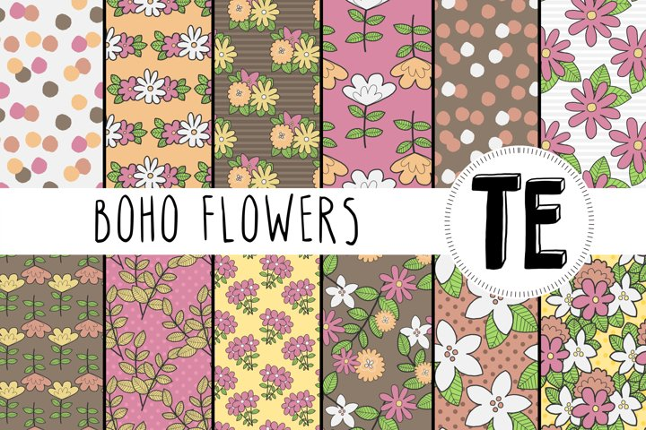 Bohemian Flowers Digital Paper Pack. 12 Seamless Patterns.