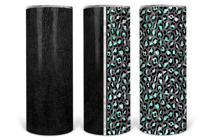 Full Wrap Leopard Leather 20oz Skinny Tumbler Template