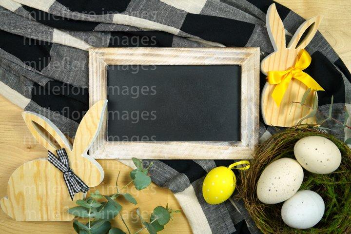Easter Farmhouse Blackboard Chalkboard Flatlay Mockup Photo