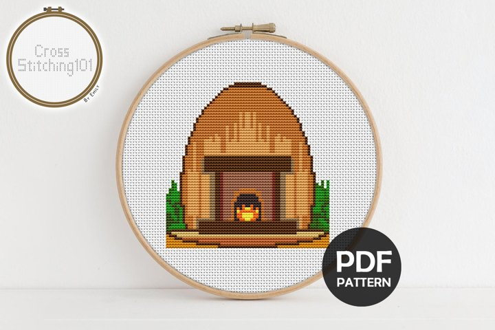 Fireplace Cross Stitch Pattern - Instant Download PDF