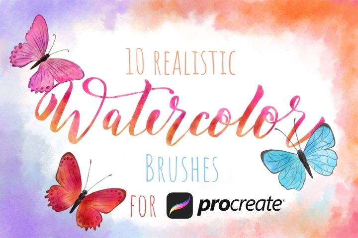Watercolor Realistic Brushes set for Procreate.