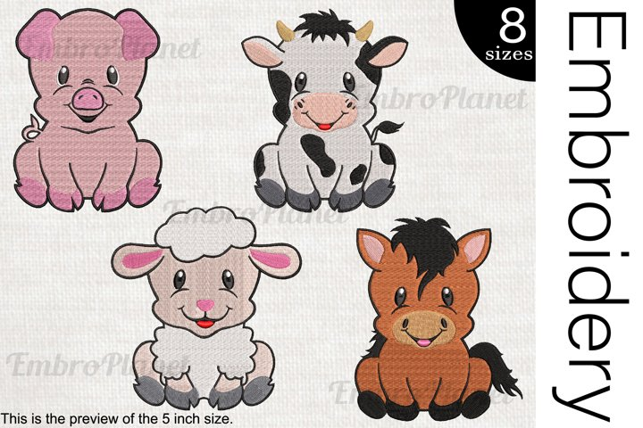 Cute Farm Animals - Embroidery Files - 1470e