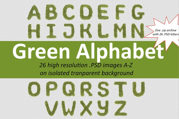 Green font alphabet A-Z