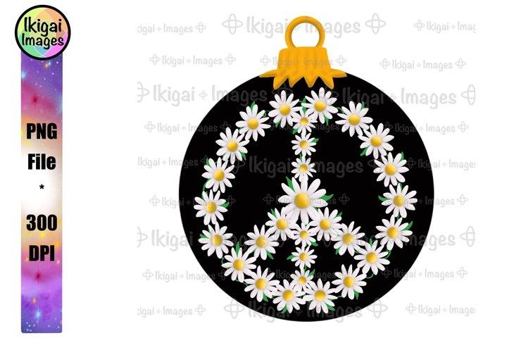 Peace Sign Ornament, Flower Power Christmas, Hippie Xmas