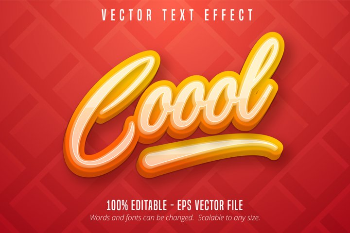 Cool text, calligraphy style editable text effect