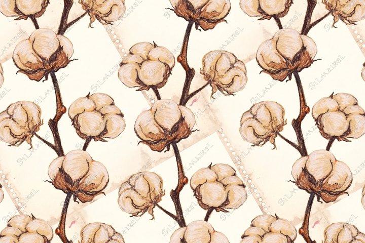 Vintage cotton flower plant sepia sketch seamless pattern