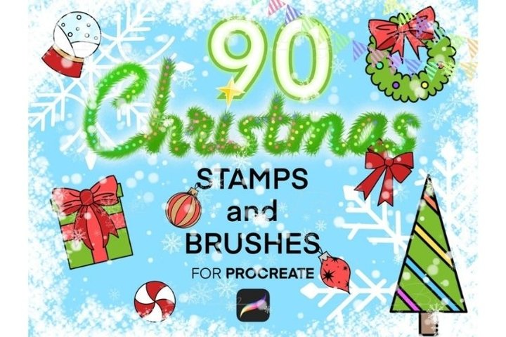 90 Procreate Christmas Stamps Set, Merry Christmas, New Year